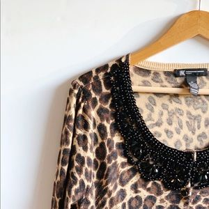 INC leopard print beaded cardigan size 1X